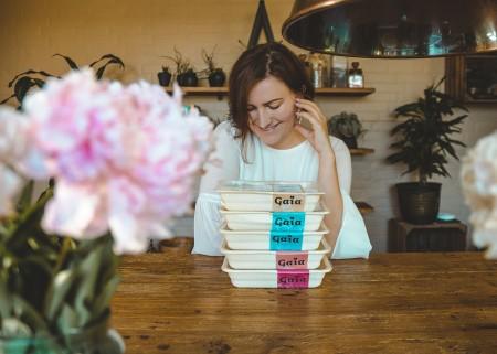 Irina with Gaia food boxes